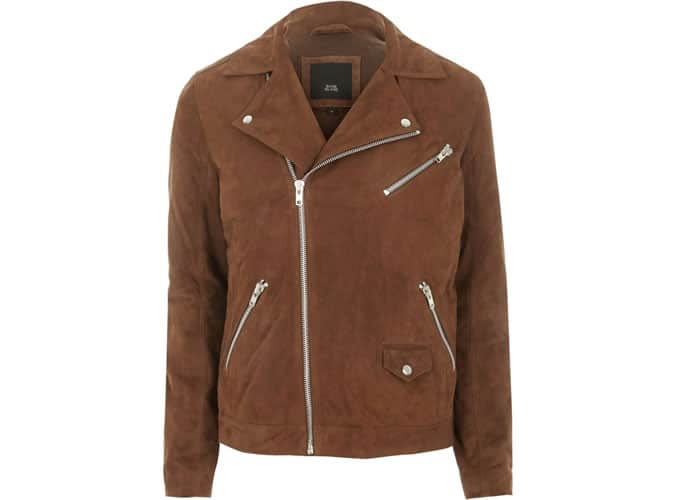 River Island Brown Suede Biker Jacket
