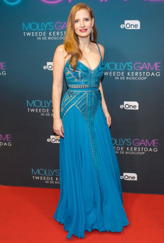 Jessica Chastain Wearing A Blue Dress