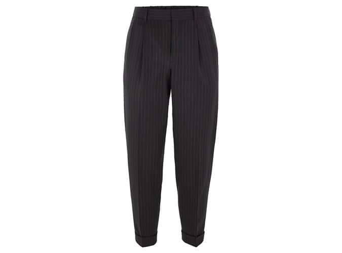 Topman Navy Pinstripe Tapered Trousers