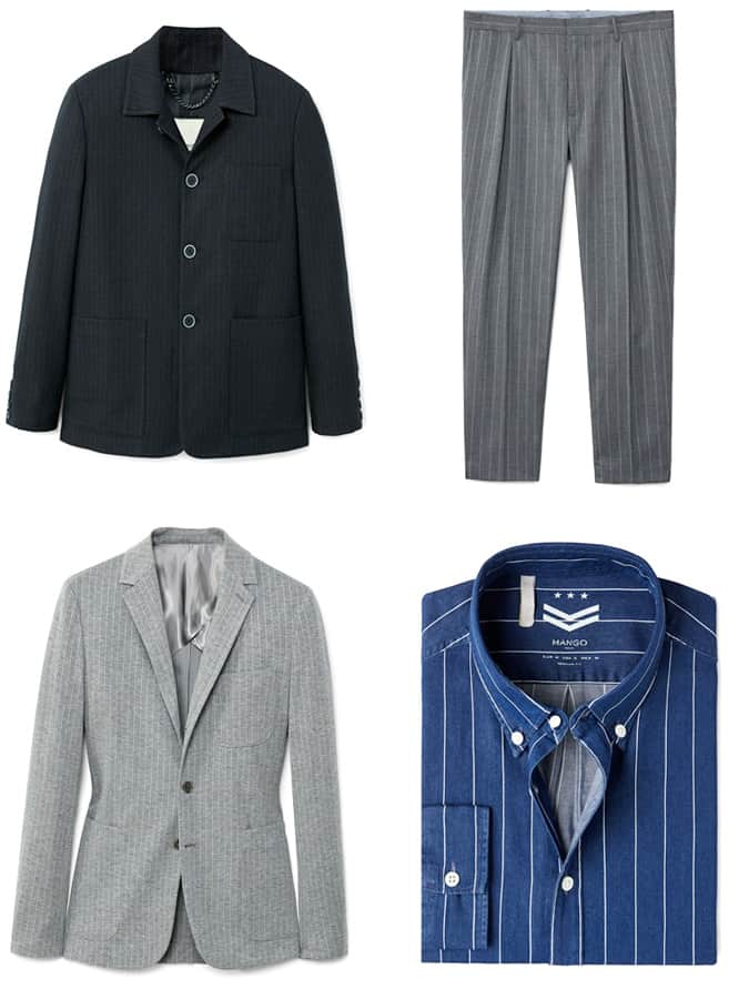 Pinstripe shirts, jackets and trousers for men