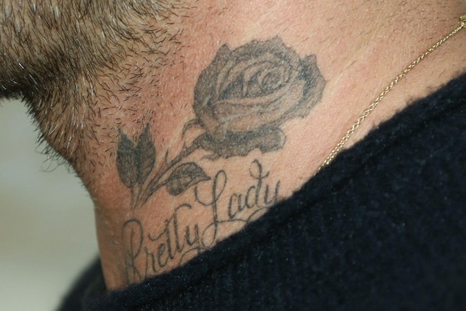 David Beckham Rose Tattoo