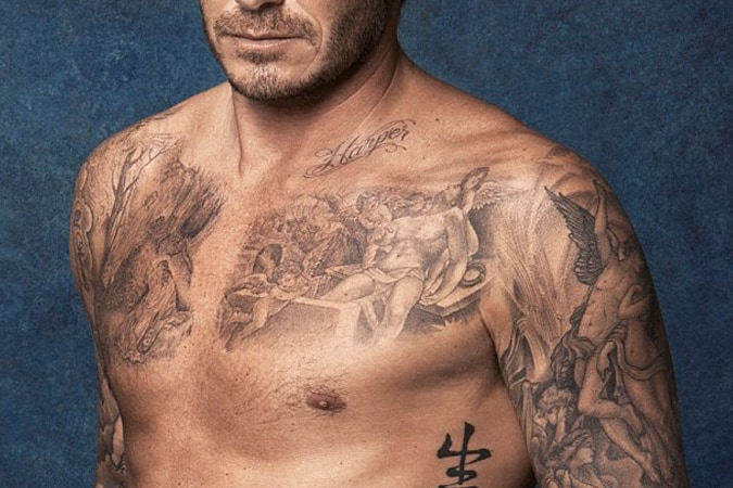 David Beckham Jesus and The Three Cherubs Tattoo