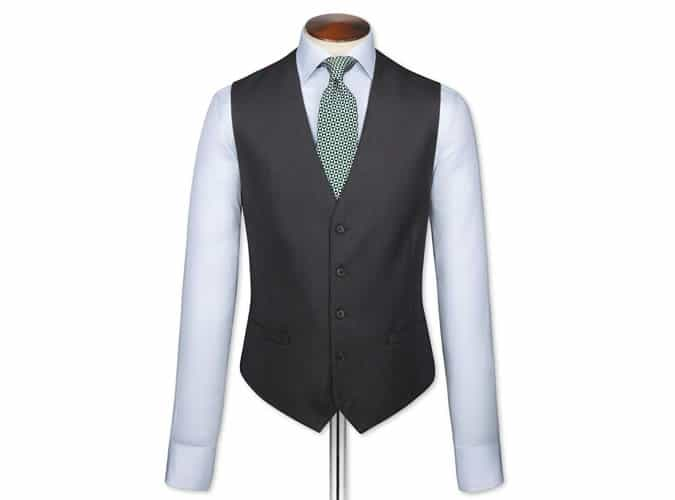 Charcoal adjustable fit birdseye travel suit waistcoat