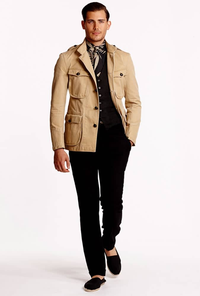 safari jacket worn in a modern way by Ralph Lauren