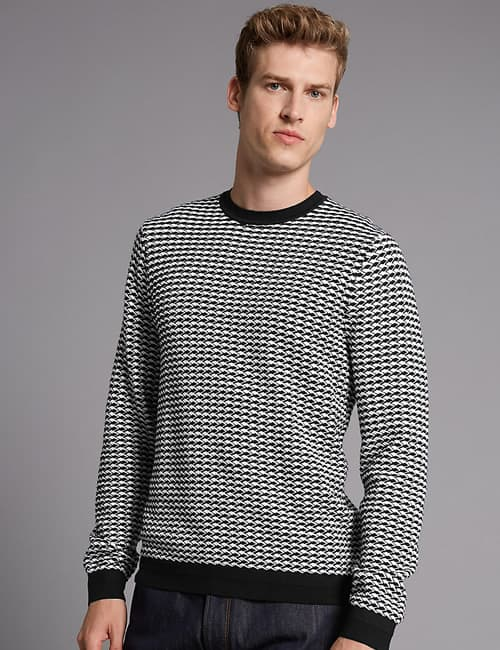 AUTOGRAPH Pure Cotton Textured Slim Fit Jumper