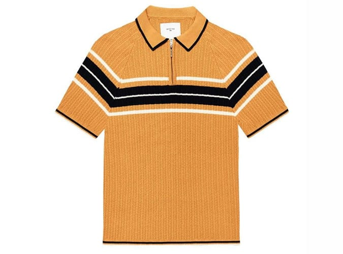 Greyson Weave Polo Bronze Stripe