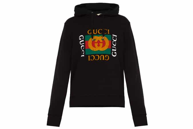 GUCCI Fake logo-print cotton-jersey hooded sweatshirt
