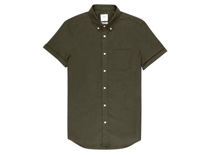 Khaki Muscle Fit Short Sleeve Oxford Shirt