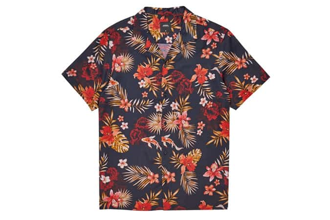Black Short Sleeve Revere Ohana Printed Shirt