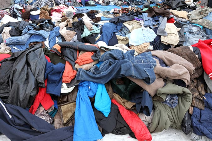 Pile of clothes for recycling