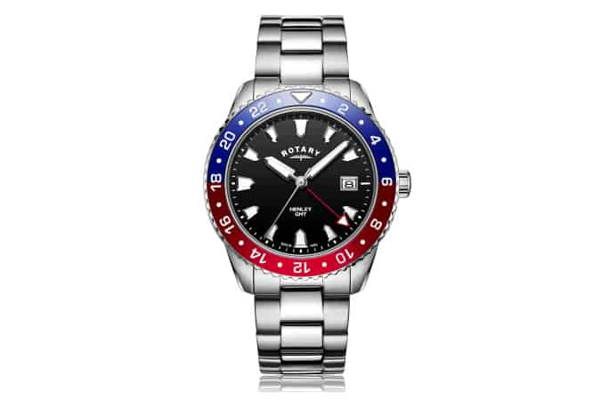 Rotary Gents Stainless Steel Red / Blue GMT Henley