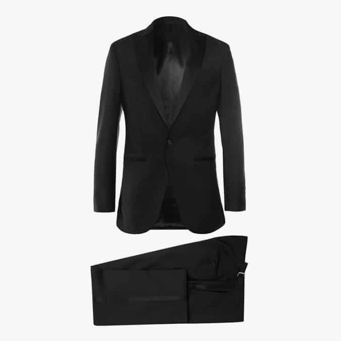 HACKETT Black Satin-Trimmed Wool And Mohair-Blend Tuxedo