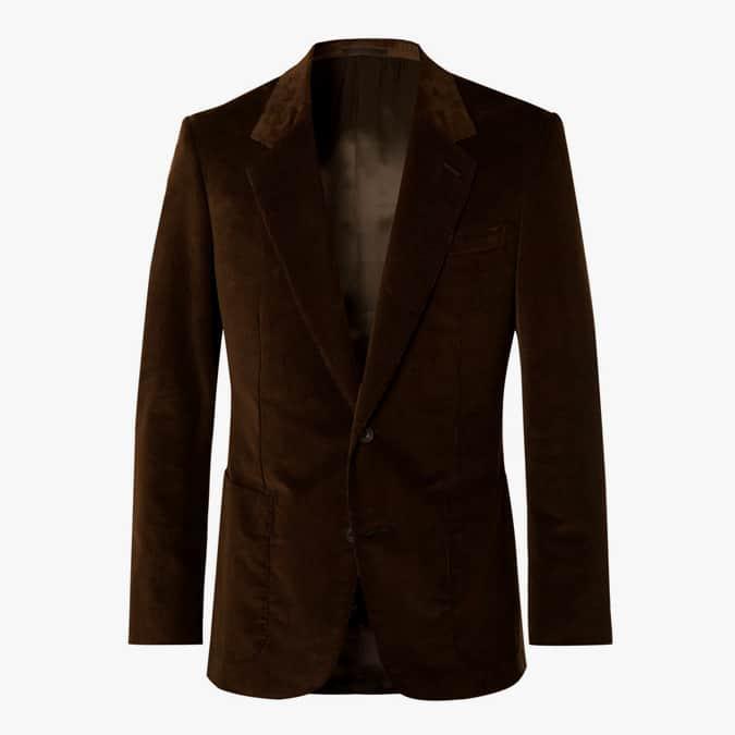 EXCLUSIVE KINGSMAN Brown Slim-Fit Cotton-Blend Corduroy Suit Jacket